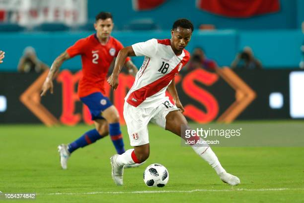 André Carrillo of Peru brings the ball up field against Chile during an International friendly match on October 12 2018 at Hard Rock Stadium in Miami...