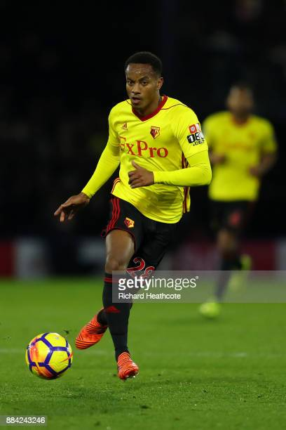 André Carrillo of Watford in action during the Premier League match between Watford and Manchester United at Vicarage Road on November 28 2017 in...