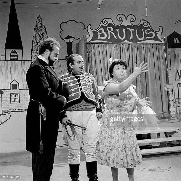 "André CELLIER, Pierre Mirat and Jackie Sardou during the shooting of a scene of ""Brutus's holidays""."