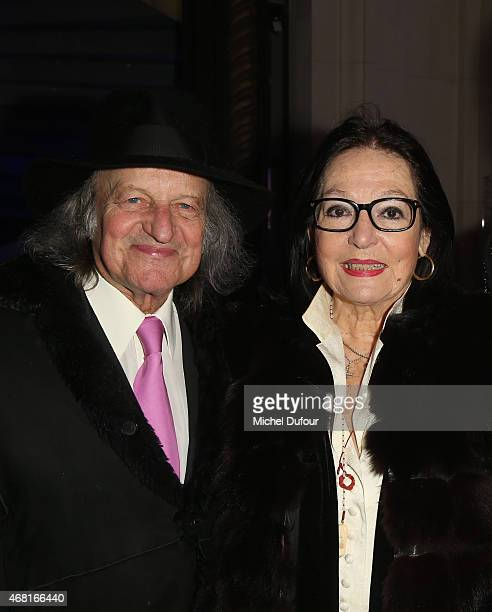 André Chapelle and Nana Mouskouri attend the 'Jean Paul Gaultier Exhibition' Photocall At Grand Palais at Grand Palais on March 30 2015 in Paris...