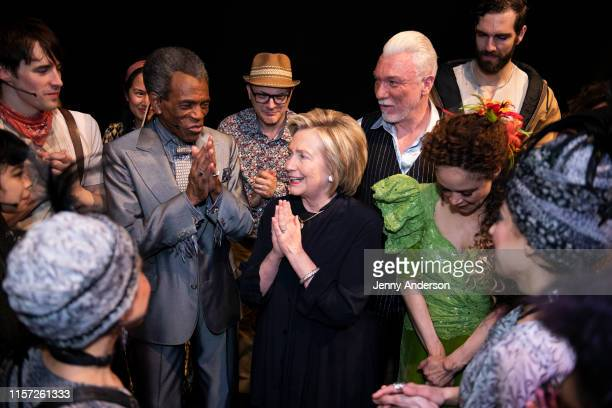 """André De Shields, Hillary Clinton, Patrick Page and the cast of """"Hadestown"""" backstage at the Walter Kerr Theatre on June 20, 2019 in New York City."""