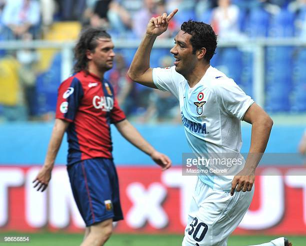 Andrè Dias of SS Lazio celebrates scoring his team's first goal during the Serie A match between Genoa CFC and SS Lazio at Stadio Luigi Ferraris on...