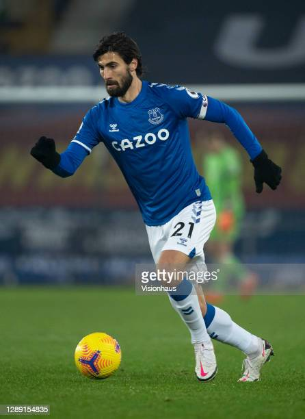 André Gomes of Everton in action during the Premier League match between Everton and Leeds United at Goodison Park on November 28, 2020 in Liverpool,...