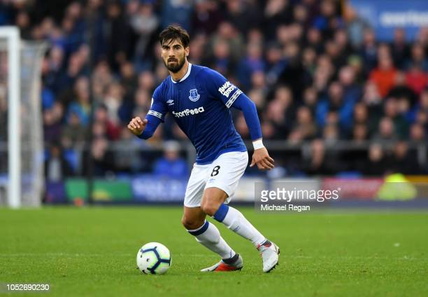 André Gomes of Everton in action during the Premier League match between Everton FC and Crystal Palace at Goodison Park on October 21 2018 in...