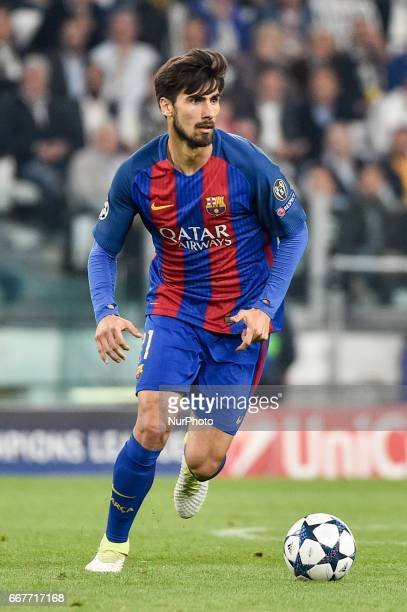 André Gomes of FC Barcelona during the UEFA Champions League quarter final match between Juventus and Barcelona at the Juventus Stadium Turin Italy...