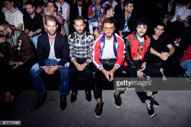 André Hamann Matthew Zorpas Marco Ferri and Guglielmo Scilla attend Dsquared2 show during Milan Men's Fashion Spring/Summer 2019 on June 17 2018 in...