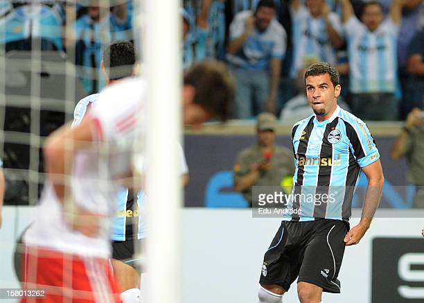 André Lima from Grêmio celebrates goal during a match between Gremio and Hamburgo from Germany as part of the inauguration of Arena stadium on...