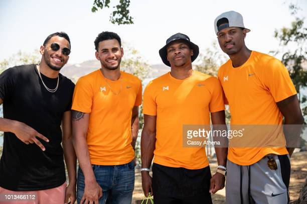 André Roberson Abdel Nader Russell Westbrook and Paul George attend the 2nd annual Paul George fishing tournament at Castaic Lake on August 4 2018...