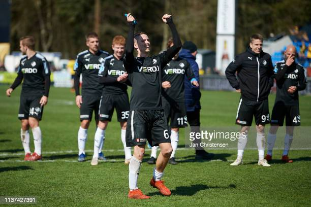 André Romer of Randers FC celebrate with fans after the Danish Superliga match between Hobro IK and Randers FC at DS Arena on April 14 2019 in Hobro...