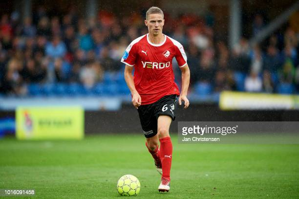 André Romer of Randers FC controls the ball during the Danish Superliga match between Randers FC and AGF Arhus at BioNutria Park Randers on August 12...
