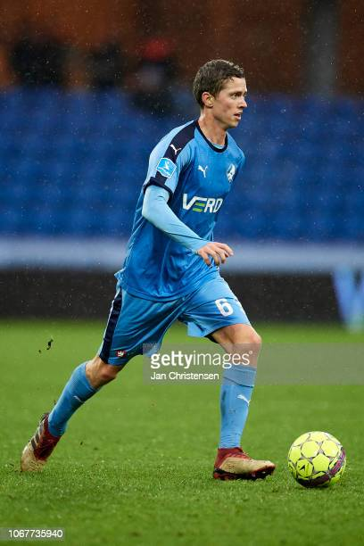 André Romer of Randers FC controls the ball during the Danish Superliga match between Randers FC and FC Midtjylland at Cepheus Park Randers on...