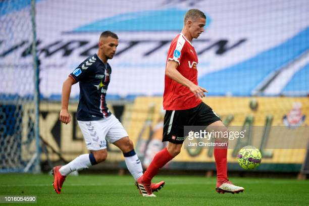 André Romer of Randers FC in action during the Danish Superliga match between Randers FC and AGF Arhus at BioNutria Park Randers on August 12 2018 in...