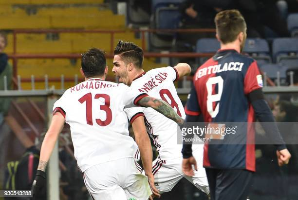 Andr Silva of Milan celebrate after his score 01 during the serie A match between Genoa CFC and AC Milan at Stadio Luigi Ferraris on March 11 2018...