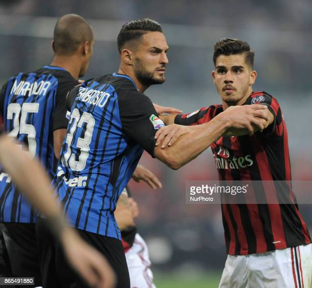 Andrè Silva of Milan player and Danilo D'Ambrosio of Inter player during the match valid for Italian Football Championships Serie A 20172018 between...