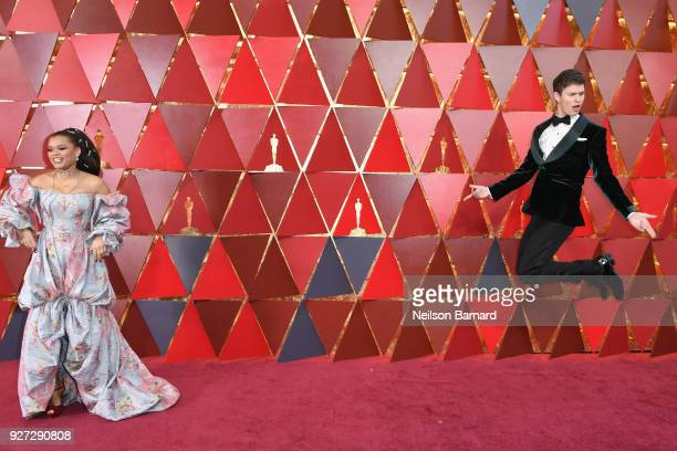 Andra Day and Ansel Elgort attend the 90th Annual Academy Awards at Hollywood & Highland Center on March 4, 2018 in Hollywood, California.