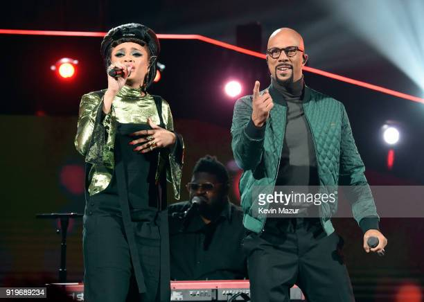 Andra Day and Common perform onstage during the 2018 State Farm AllStar Saturday Night at Staples Center on February 17 2018 in Los Angeles California