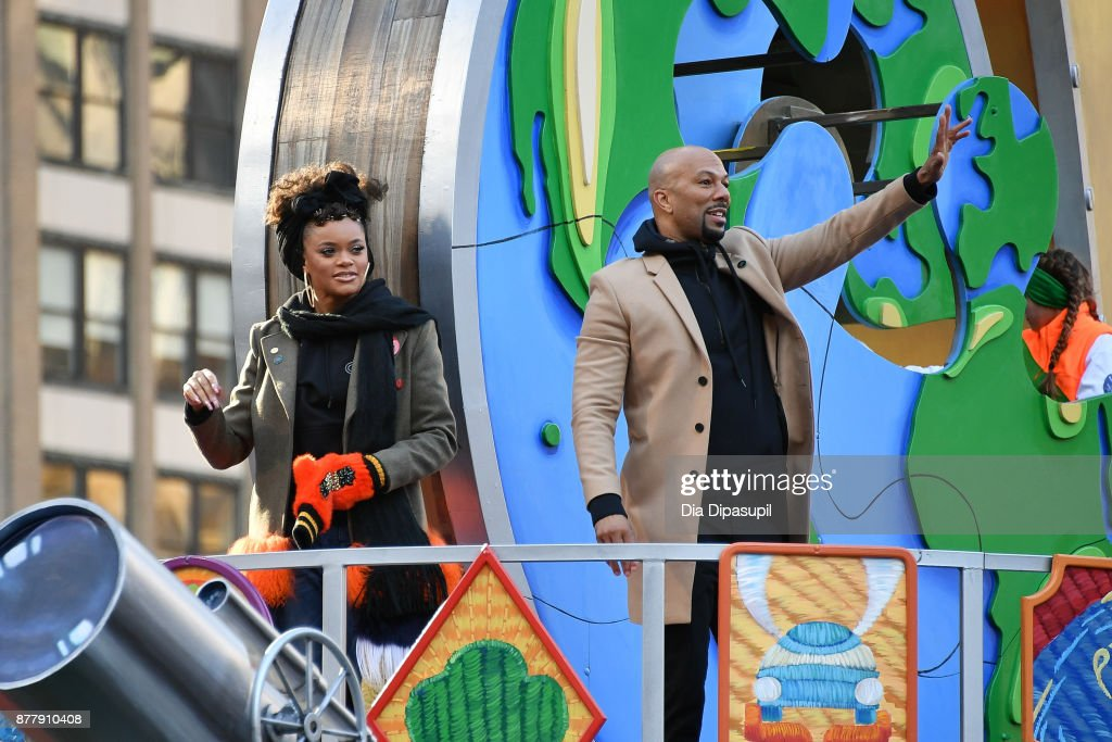 Andra Day (L) and Common ride in the 91st Annual Macy's Thanksgiving Day Parade on November 23, 2017 in New York City.