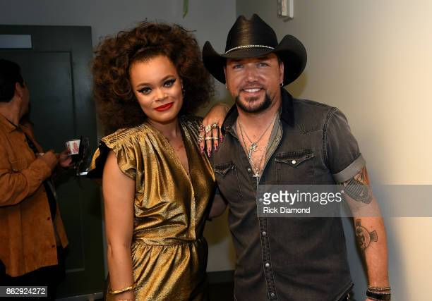 Andra Day and Honoree Jason Aldean backstage at the 2017 CMT Artists Of The Year on October 18 2017 in Nashville Tennessee