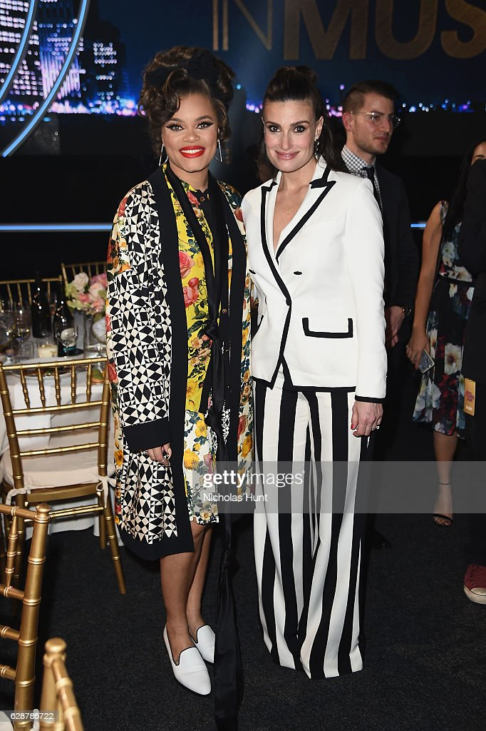 Andra Day and Idina Menzel pose together at the Billboard Women in Music 2016 event on December 9, 2016 in New York City.