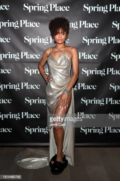 Andra Day attends Spring Place's Oscars party honoring Andra Day and the cast of The United States vs. Billie Holiday on April 25, 2021 in Beverly...