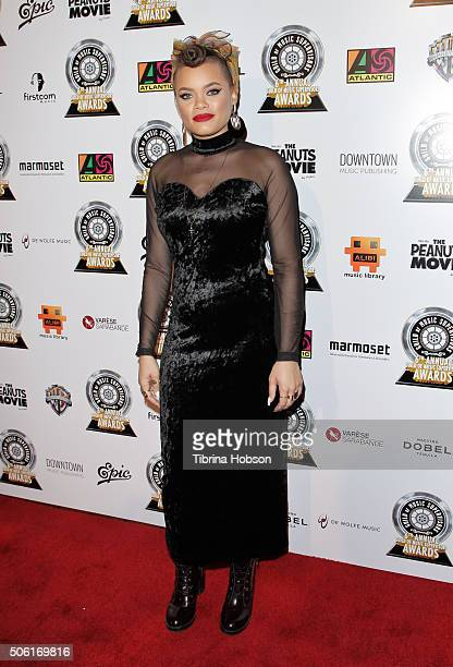 Andra Day attends the 6th annual Music Supervisors Awards at The Theatre at Ace Hotel Downtown LA on January 21, 2016 in Los Angeles, California.