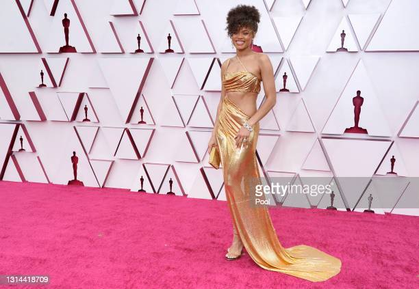 Andra Day attends the 93rd Annual Academy Awards at Union Station on April 25, 2021 in Los Angeles, California.