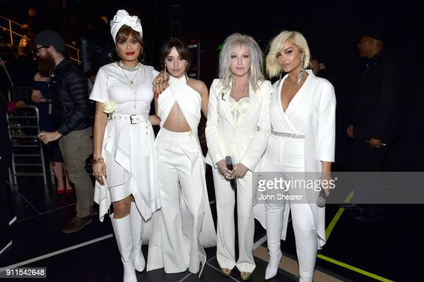 Andra Day Camila Cabello Cyndi Lauper and Bebe Rexha prepare backstage at the 60th Annual GRAMMY Awards at Madison Square Garden on January 28 2018...
