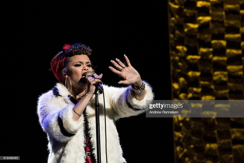 Andra Day performs at a fundraiser for Democratic presidential candidate Hillary Clinton at Radio City Music Hall on March 2, 2016 in New York City. Clinton won seven states in yesterday's Super Tuesday.