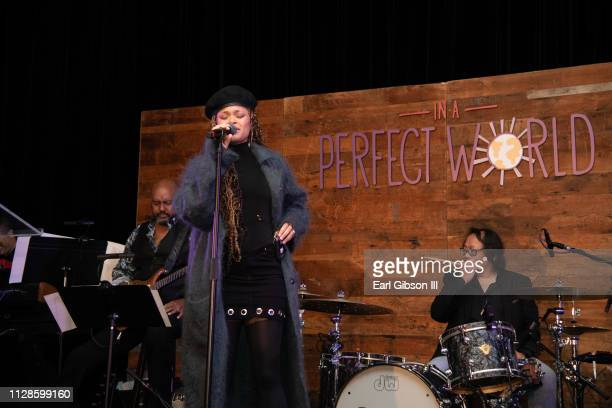 Andra Day performs at In A Perfect World MAP Gala at The Jeremy Hotel on March 3 2019 in West Hollywood California