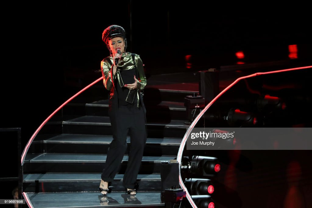 Andra Day performs during State Farm All-Star Saturday Night as part of the 2018 NBA All-Star Weekend on February 17, 2018 at STAPLES Center in Los Angeles, California.