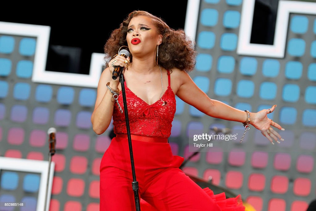 Andra Day performs during the 2017 Global Citizen Festival at The Great Lawn of Central Park on September 23, 2017 in New York City.