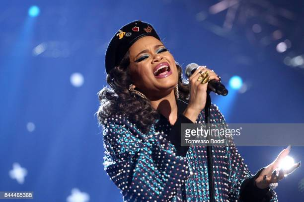 Andra Day performs onstage during the XQ Super School Live presented by EIF at Barker Hangar on September 8 2017 in Santa California