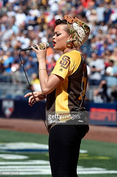 Andra Day performs the National Anthem prior to the SiriusXM AllStar Futures Game at Petco Park on Sunday July 10 2016 in San Diego California
