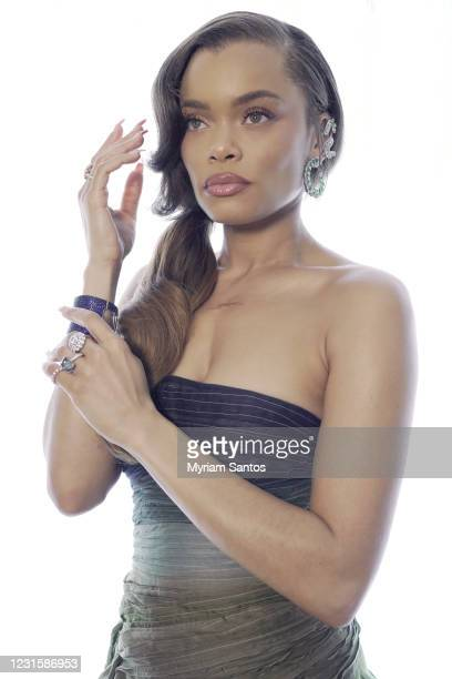 Andra Day poses for the 2021 Critics Choice Awards on March 7, 2021.