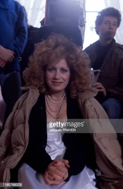 Andréa Ferréol sur le plateau du film de Peter Greenaway 'Zoo' le 3 mai 1985 aux PaysBas