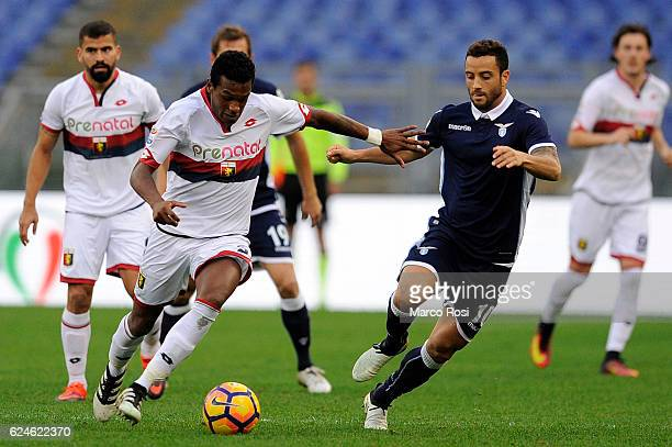 Andrade Dos Santos Edenilson of SCFC Genoa compete for the ball with Felipe Anderson of SS Lazio during the Serie A match between SS Lazio and Genoa...