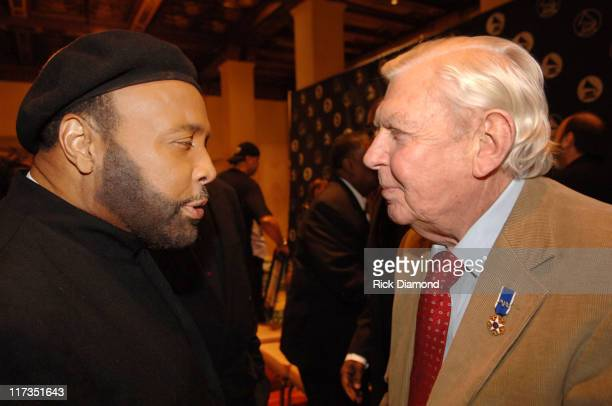 Andrae Crouch and Andy Griffith during GRAMMY Salute to Gospel Music at Millennium Biltmore Hotel in Los Angeles California United States