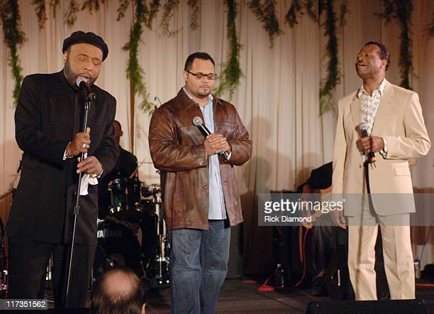Andrae Crouch Israel Houghton and Edwin Hawkins during GRAMMY Salute to Gospel Music at Millennium Biltmore Hotel in Los Angeles California United...