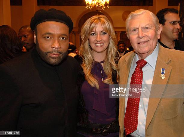 Andrae Crouch Martha Munizzi and Andy Griffith during GRAMMY Salute to Gospel Music at Millennium Biltmore Hotel in Los Angeles California United...