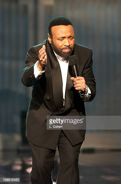 Andrae Crouch performs during a taping of BET's 2nd Annual Celebration of Gospel on January 26 2002 at the Wiltern Theater in Los Angeles The show is...