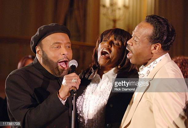 Andrae Crouch Sandra Crouch and Edwin Hawkins during GRAMMY Salute to Gospel Music at Millennium Biltmore Hotel in Los Angeles California United...