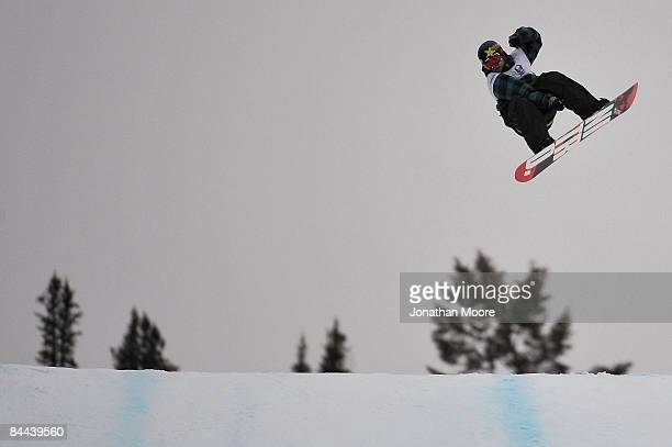 Andraes Wiig of Oslo Norway grabs air during the Men's Snowboard Slopestyle Final during Winter X Games Day 3 on Buttermilk Mountain on January 24...