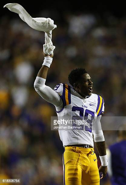 Andraez Williams of the LSU Tigers reacts during a game against the Mississippi Rebels at Tiger Stadium on October 22 2016 in Baton Rouge Louisiana