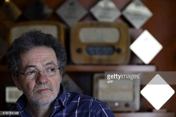 Andras Arato president and CEO of Hungarian radio the 'Klubradio' is pictured in his studio in Budapest on March 5 2014 The Hungarian general...