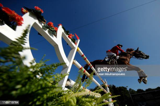Andras Kovy jun. Of Hungary riding Heureka 22 competes during Day 4 of the Longines Grand Prix Special FEI Dressage European Championship presented...
