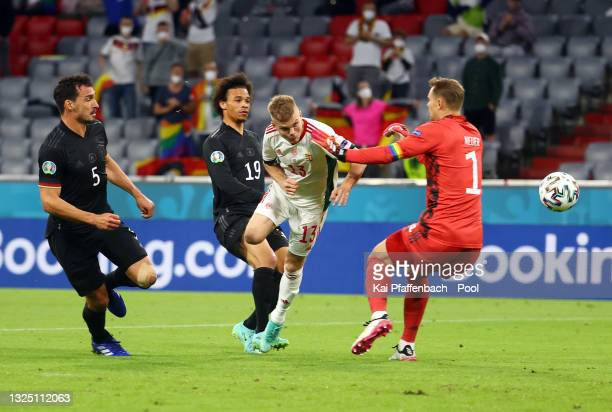 Andras Schaefer of Hungary scores their side's second goal past Manuel Neuer of Germany during the UEFA Euro 2020 Championship Group F match between...