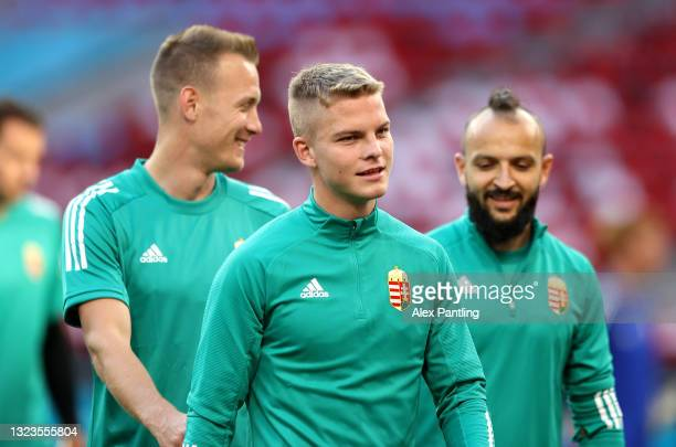 Andras Schaefer warms up during the Hungary Training Session ahead of the Euro 2020 Group F match between Hungary and Portugal at Puskas Arena on...