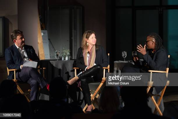 Andras Szanto Anne Pasternak and Mickalene Thomas attend the AS IF Magazine Speaker Series With Audemars Piguet Brooklyn Museum on November 7 2018 in...