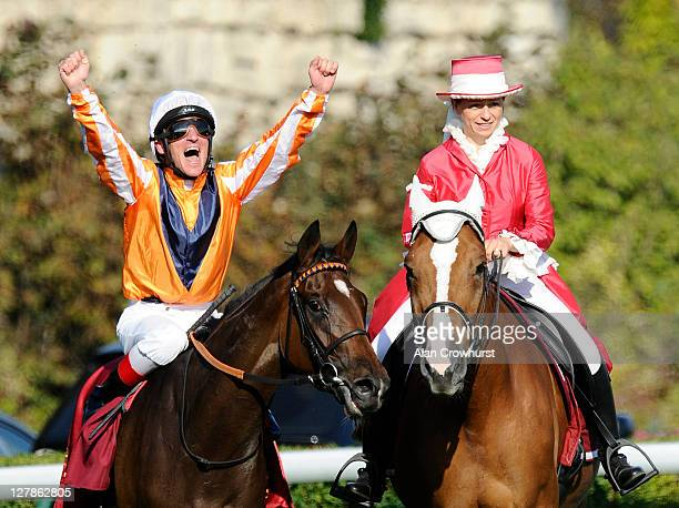 Andrasch Starke riding Danedream win The Qatar Prix De L'Arc De Triomphe at Longchamp racecourse on October 02 2011 in Paris France