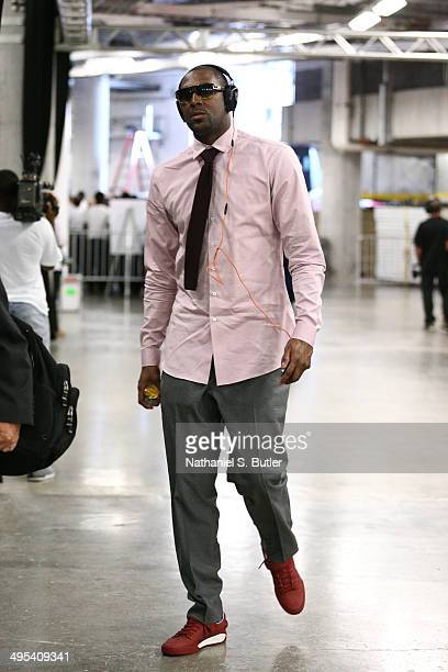 Andray Blatche of the Brooklyn Nets arrives to Game Two of the Eastern Conference Semifinals against the Miami Heat in the 2014 NBA playoffs at...